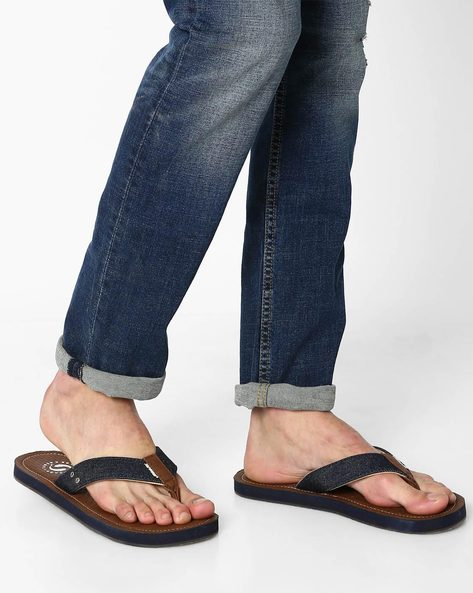Thong Strap Denim Flip-Flops By Sole Threads ( Brown )