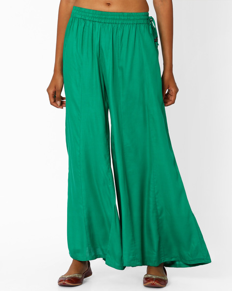Palazzo Pants With Tassel Tie-Up By Khimsariya ( Green )
