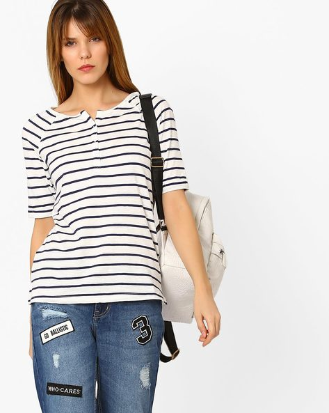 Striped Cotton Top By Fame Forever ( Navy )