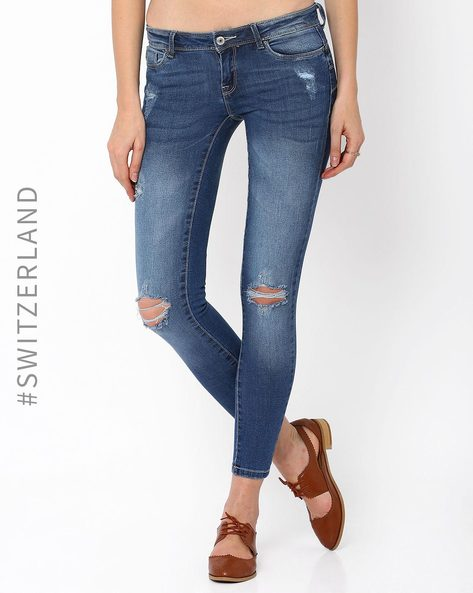 Distressed Ankle-Length Skinny Jeans By TALLY WEiJL ( Navyblue )