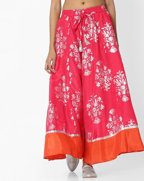 Printed Ghagra With Contrast Hem By Akkriti By Pantaloons ( Pink )