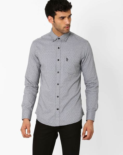 Geometric Print Tailored Fit  Shirt By US POLO ( Grey )