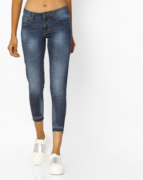 Cropped Jeans With Frayed Hems By DNMX ( Darkblue )