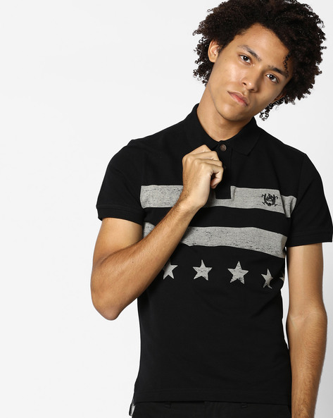 Polo T-shirt With Striped Pattern By US POLO ( Black )