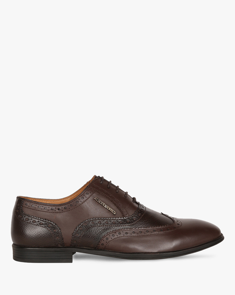 Genuine Leather Formal Shoes With Wingtip Broguing By ALBERTO TORRESI ( Brown )