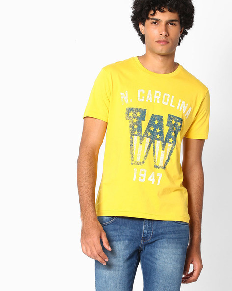 Graphic Print Cotton T-shirt By WRANGLER ( Yellow )