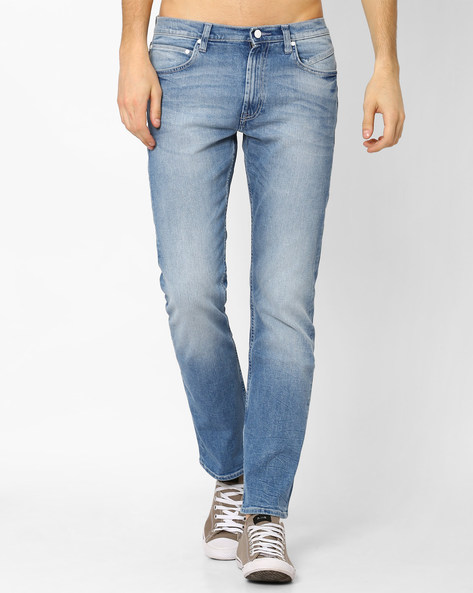 Mid-Rise Narrow Relaxed Fit Jeans By Lee ( Lightblue )