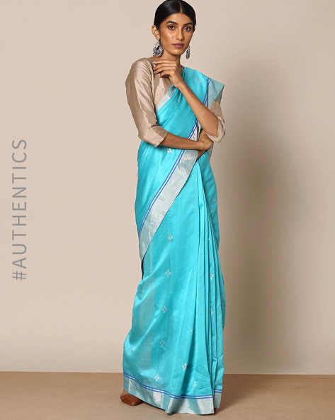 Handloom Pure Silk Cotton Chanderi Saree By Indie Picks ( Blue )