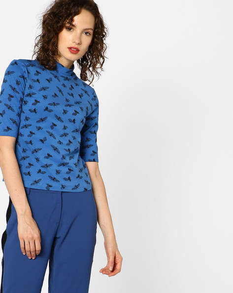 Printed High-Neck Top By AJIO ( Blue )