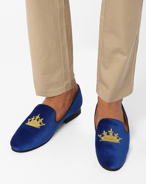 Slip-On Casual Shoes With Zardozi Design By Modello Domani ( Blue )