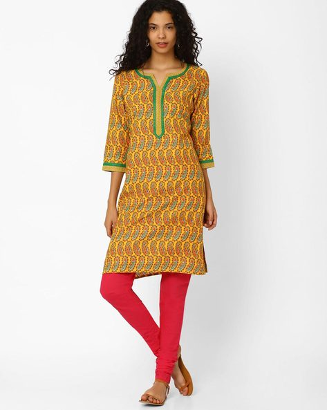 Paisley Print Cotton Churidar Kurta By AVAASA SET ( Mustard )