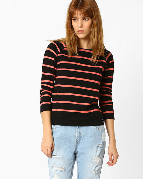 Striped Cotton Sweatshirt By Style Quotient By Noi ( Black )