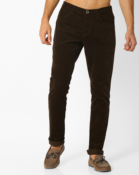 Slim Corduroy Chinos By NETPLAY ( Olive )