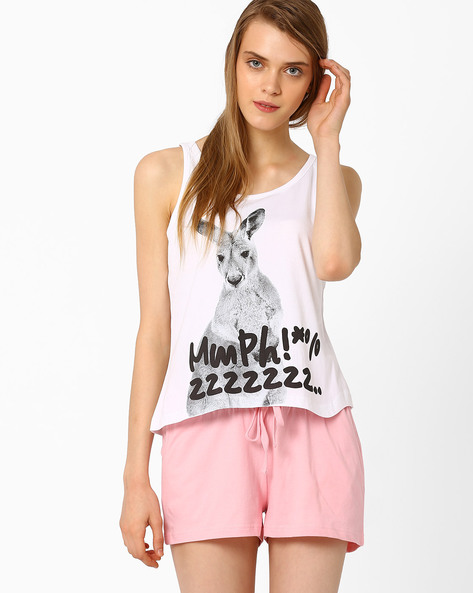 Graphic Print Lounge Top By AJIO ( White ) - 460015470002