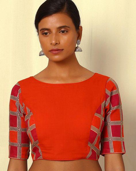 Cotton Silk Open-Back Blouse By Indie Picks ( Orange )