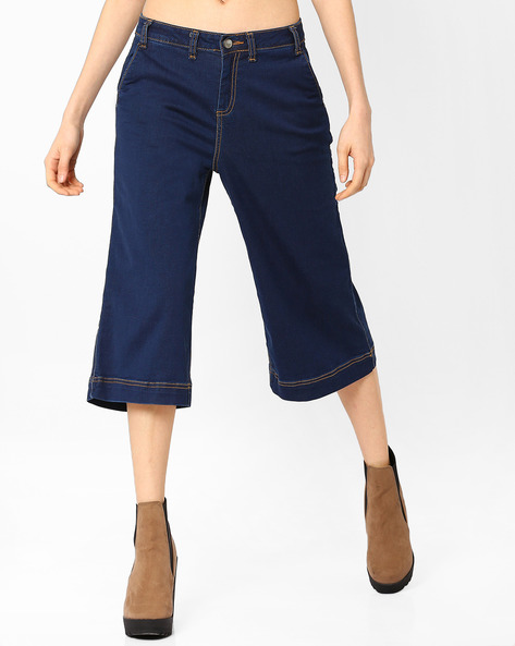 Wide-Leg Cropped Denim Culottes By AJIO ( Blue )