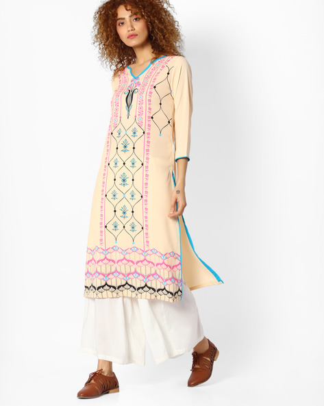 Printed Straight Kurta By Indian Ink ( Beige )