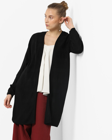 Open-Front Ribbed Long Cardigan By Only ( Black )