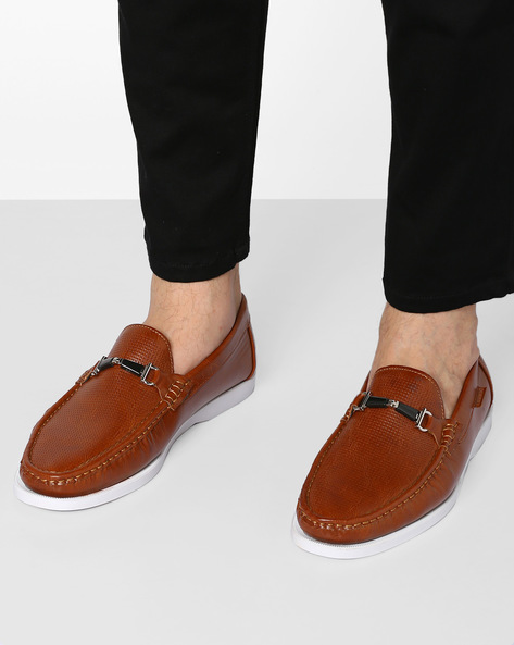 Textured Loafers With Metal Overlay By Carlton London ( Brown )