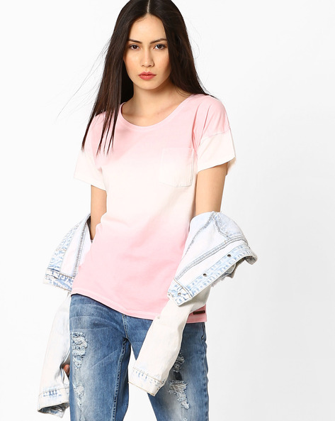Printed T-shirt With Patch Pocket By DNM X ( Pink )