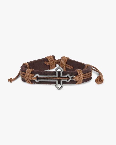 Bracelet With Metal Accent By ALPHA MAN ( Brown )