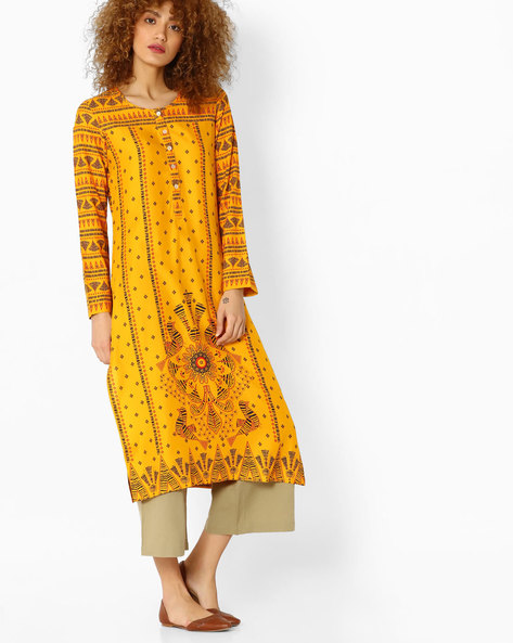 Printed Straight Kurta By Global Desi ( Mustard )