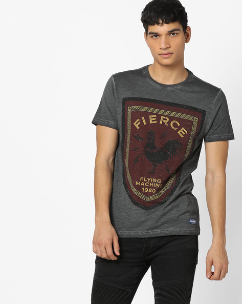 Crew-Neck T-shirt With Burnout Effect By FLYING MACHINE ( Medgrey )