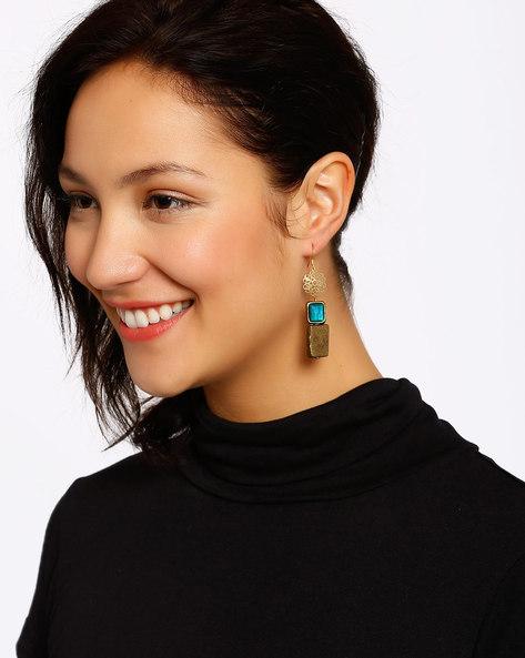 Gold-Plated Dangler Earring By Shabnam Gitanjali ( Blue )