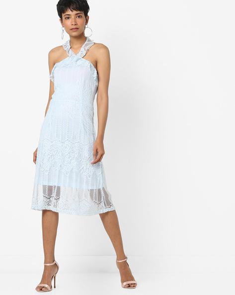 Halter-Neck Lace Sheath Dress By AJIO ( Lightblue )