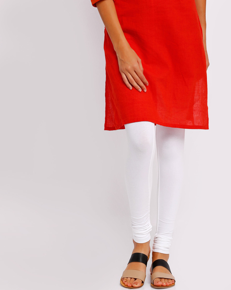Churidar Leggings With Elasticated Waistband By Go Colors ( White )