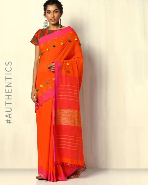 Handloom Bengal Cotton Designer Saree With Pom Pom By Indie Picks ( Orange )