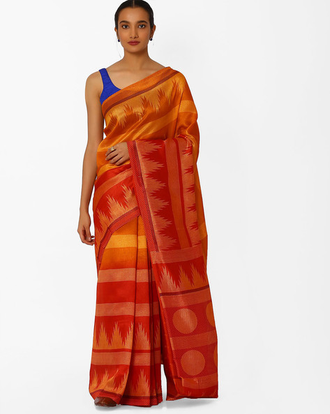 Printed Saree With Dotted Border By Florence ( Orange )