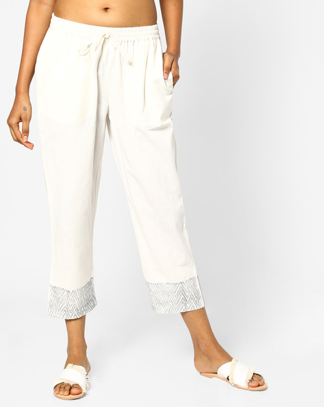 Mid-Rise Straight Pants With Pockets By PE IW Casual ( Offwhite )