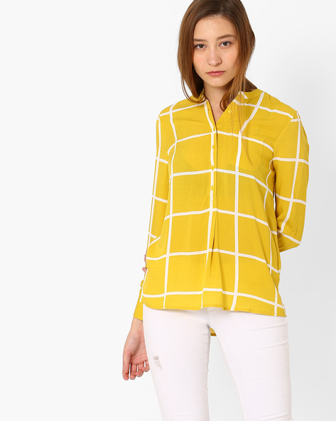 Printed Top With Patch Pocket By Only ( Yellowgold )
