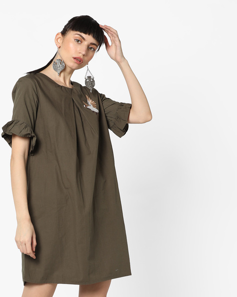Embroidered Shift Dress With Bell Sleeves By Evah London ( Olive )