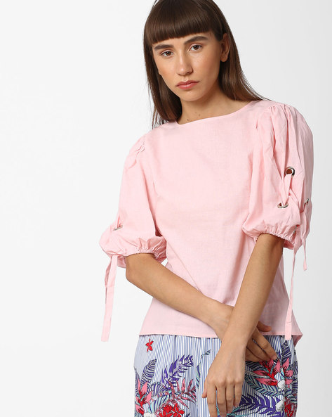 Top With Tie-Up Sleeves By Fame Forever By Lifestyle ( Pink )