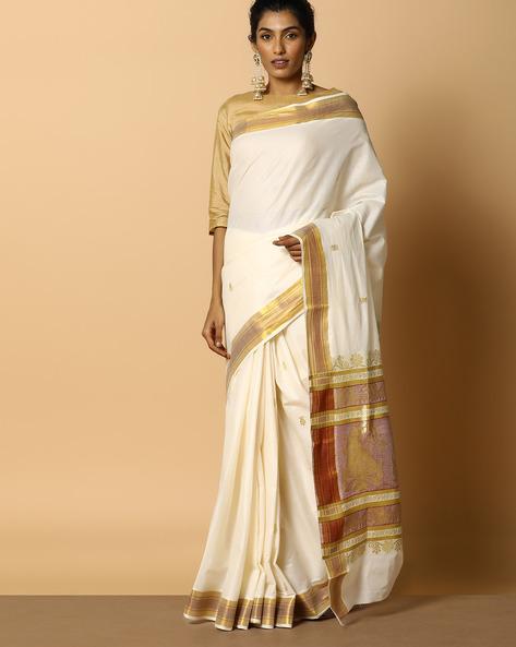 Kerala Kasavu Cotton Saree With Ornate Pallu And Buti By Indie Picks ( Offwhite ) - 460104587001