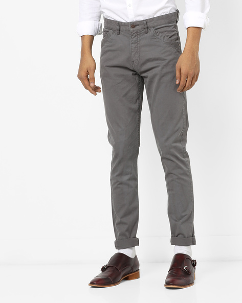Slim Fit Flat-Front Trousers By AJIO ( Slate )