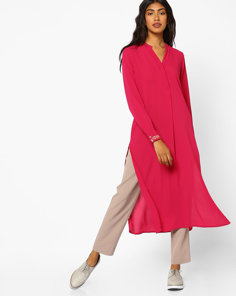 Straight Tunic With Embroidered Sleeve Hems By COLOUR ME ( Wine )