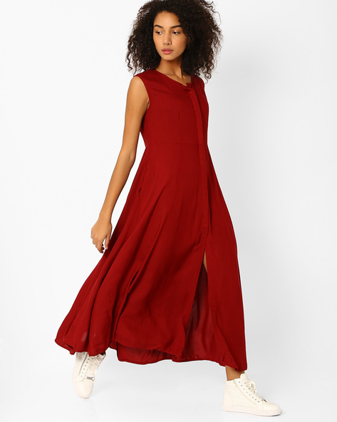 Maxi Dress With Button Placket By Oxolloxo ( Pink )