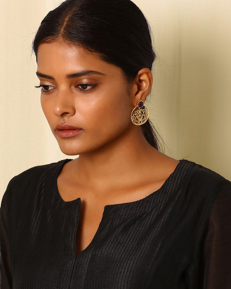 Gold-Plated Brass Drop-Earrings By Indie Picks ( Multi ) - 460045165001