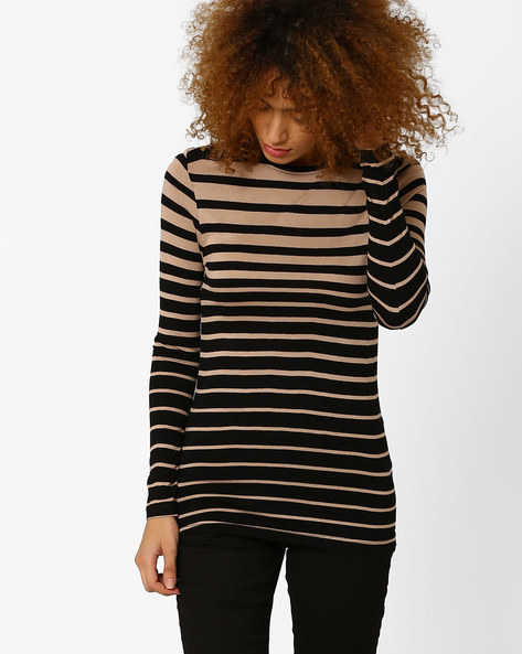 Striped Top With Round Neck By Annabelle By Pantaloons ( Beige )