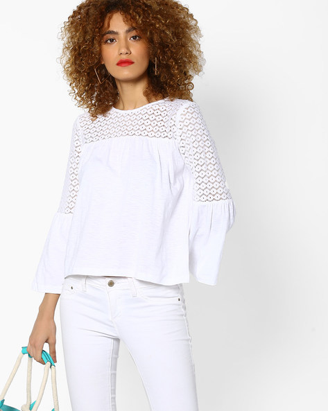 Lace Top With Bell Sleeves By RI-DRESS ( Ivory )