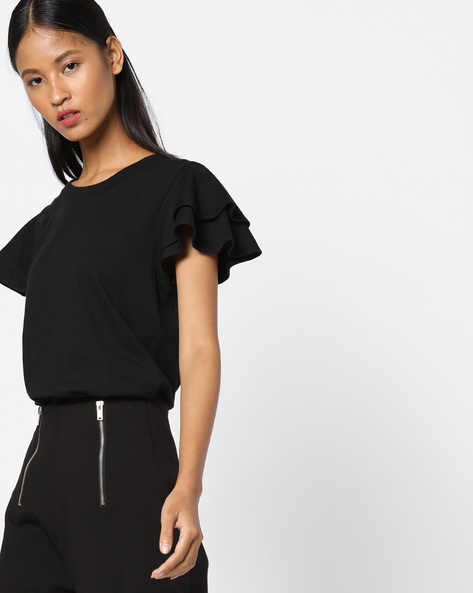 Cotton Top With Layered Sleeves By UNITED COLORS OF BENETTON ( Black )