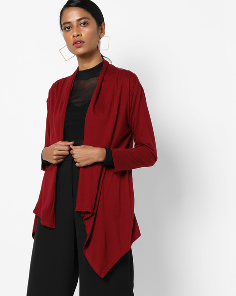 Open-Front Shrug With Dipped Hemline By AJIO ( Red )