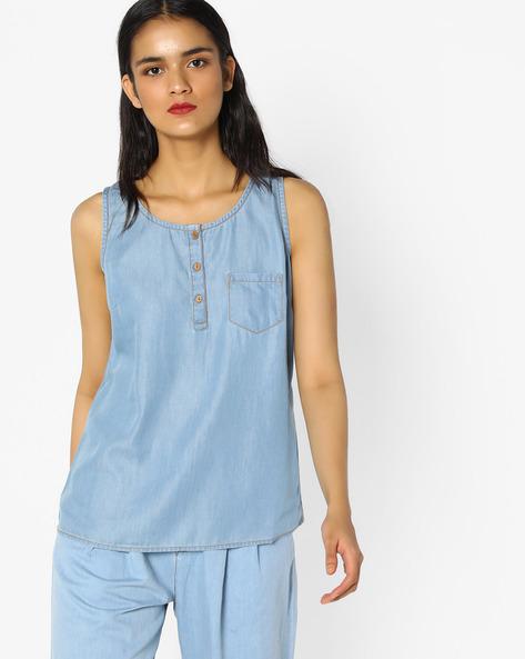 Sleeveless Denim Top With Patch Pocket By PE WW Denim ( Blue )