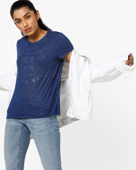 Slub-Knit Typographic Print T-shirt By Only ( Navy )