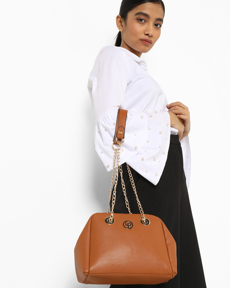 Sling Bag With Chain Straps By Lino Perros ( Tan )