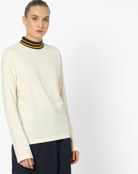 High-Neck Top With Extended Sleeves By Vero Moda ( Palaceblue )