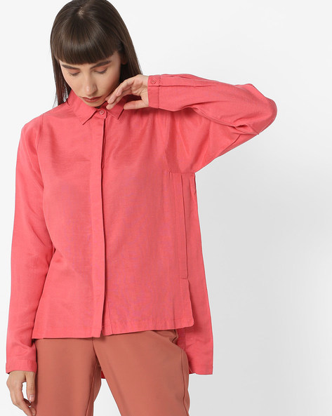 High-Low Shirt With Spread Collar By FIG ( Coral )